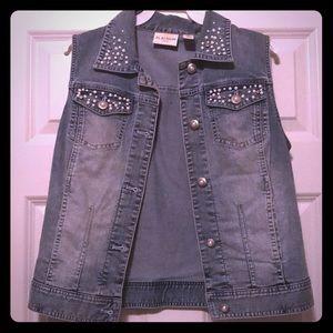 Denim vest with pearl & rhinestone embellishing